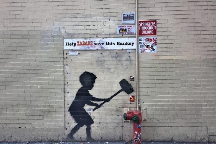 Banksy Hammer Boy New York