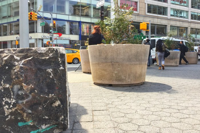 Union Square Blöcke Barrikaden