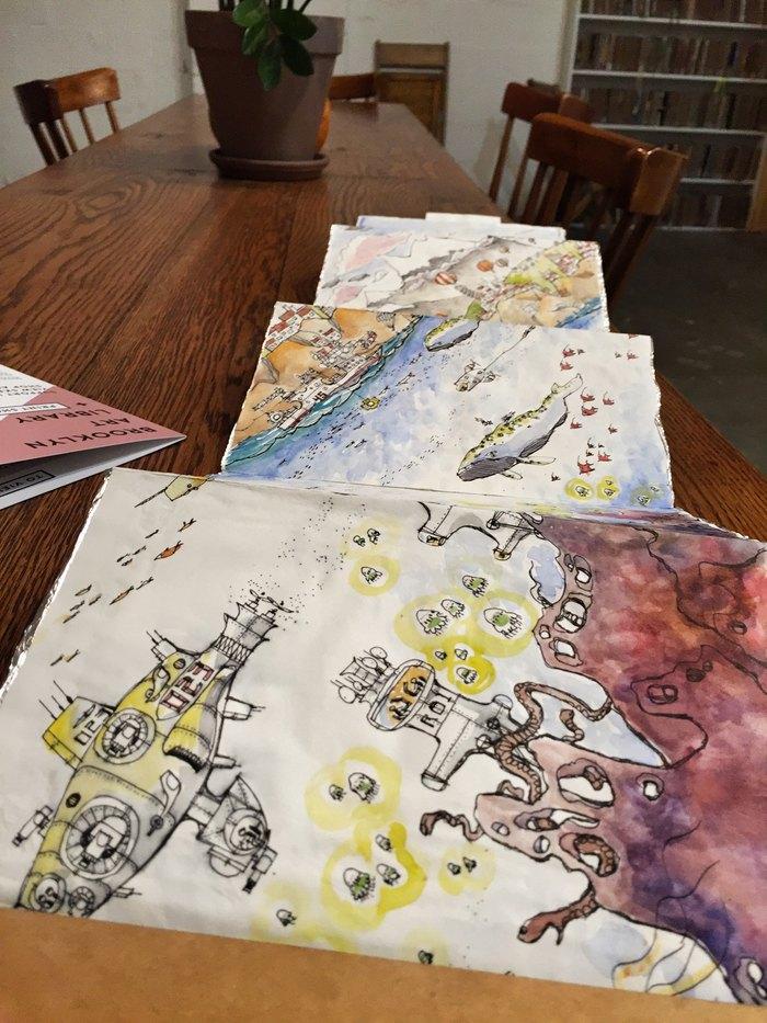 Jake Levine Sketchbook in der Brooklyn Art Library