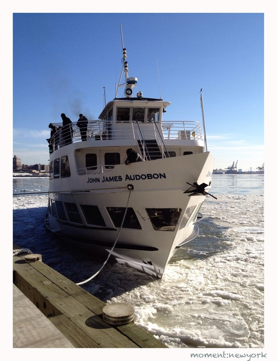 Im Eis: Tourboot am Pier 15