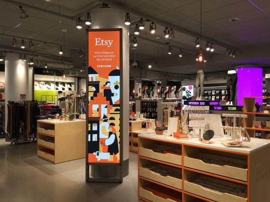 Eine Säule für Etsy im Kaufhauskeller