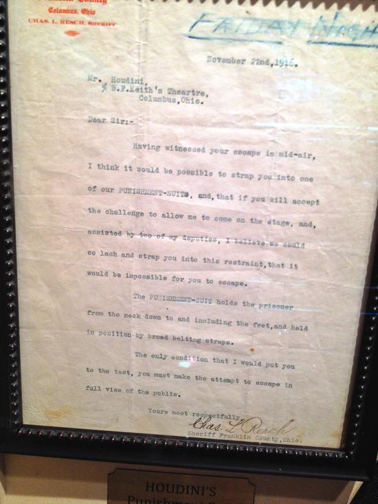 Brief an Houdini