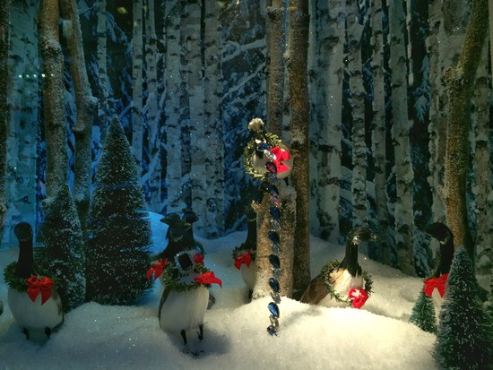 Weihnachten Schaufenster Gans