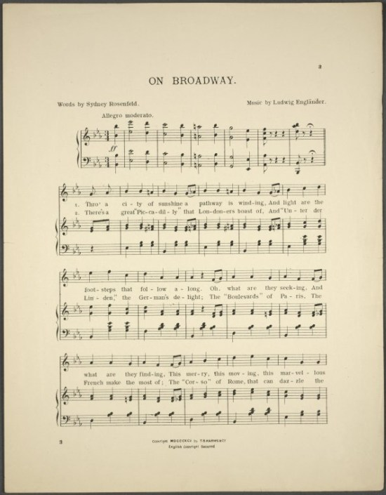 On Broadway, Notenblatt, 1895