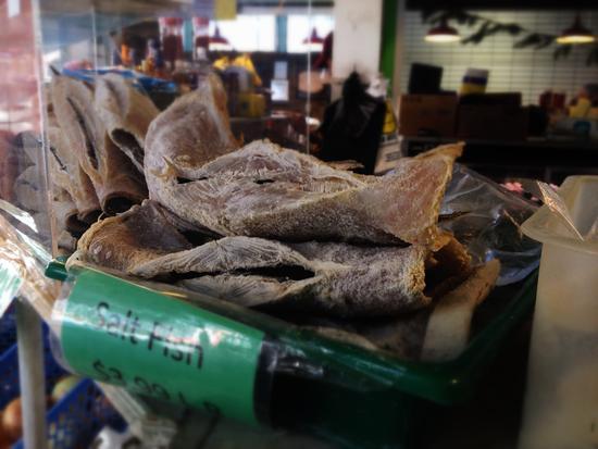 Bacalao - gesalzener Trockenfisch in East Harlem