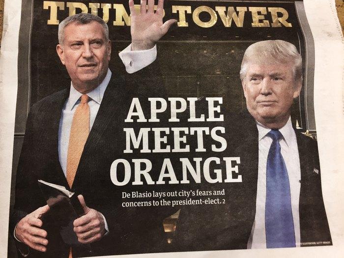 Bill de Blasio trifft Donald Trump